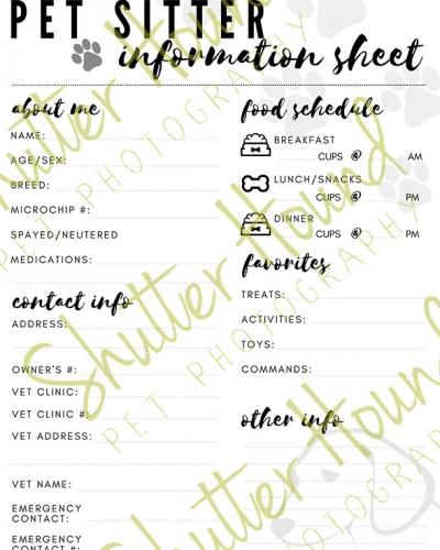 Pet Sitter Information Sheet